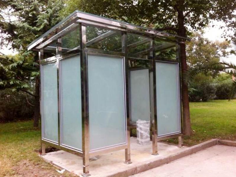 公园绿地简易不锈钢吸烟亭